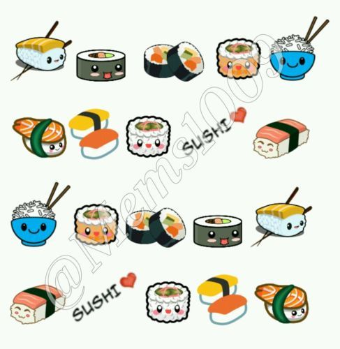 Details about Sushi Nail decals (water decals) Kawaii Nail art