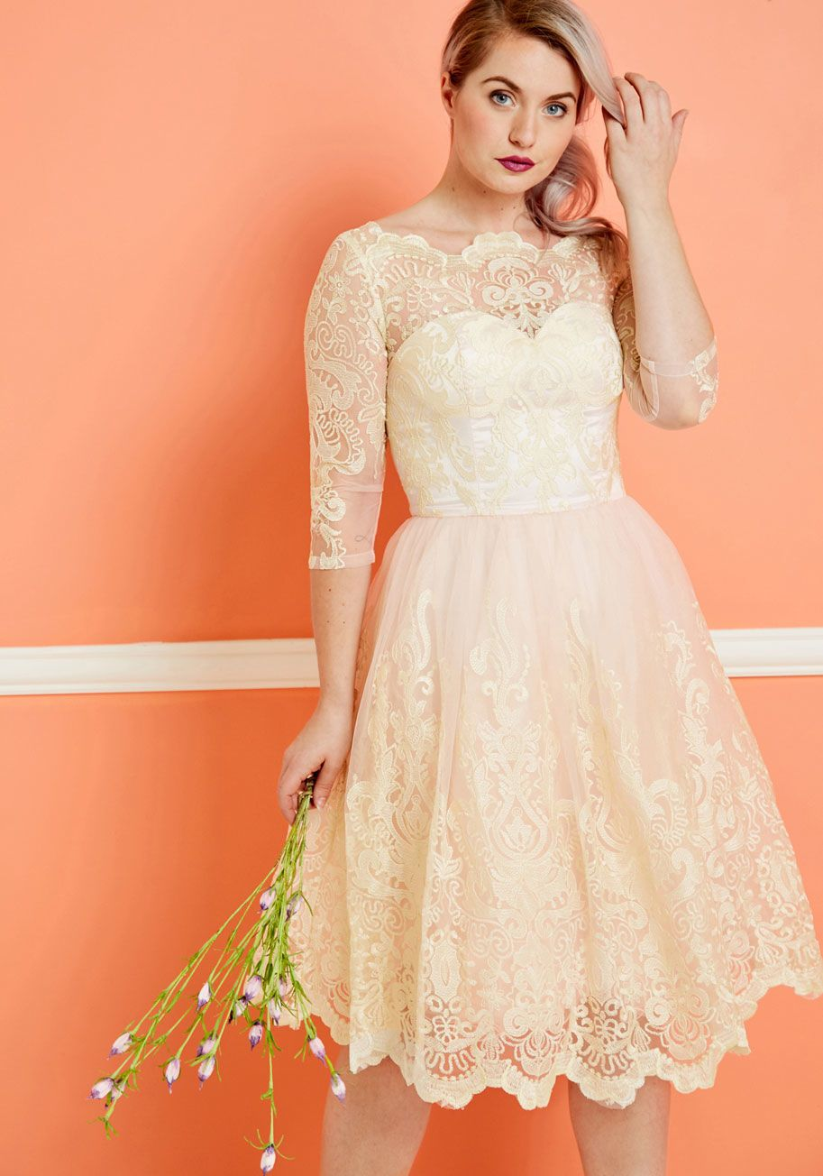 Plus size casual wedding dress  Chi Chi London Gilded Grace Lace Dress in Ivory in   Places to