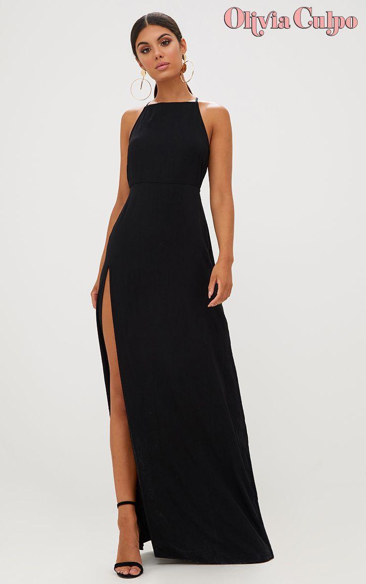 Black Strappy Back Detail Chiffon Maxi Dress Chiffon Maxi Dress Dresses Black Bridesmaid Dresses [ 1180 x 740 Pixel ]