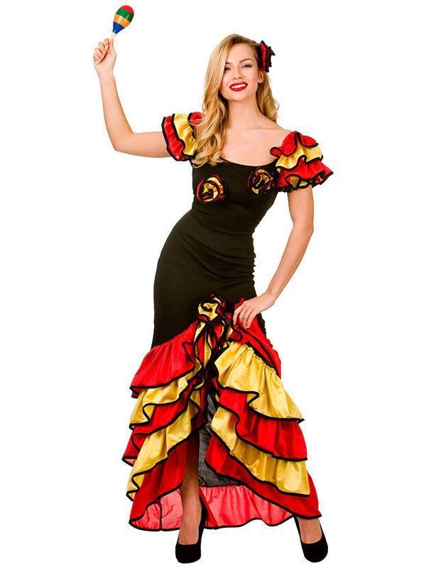 21d79ae87c5d Spanish Senorita Rumba Salsa Flamenco Dancer Dance Ladies Fancy Dress  Costume