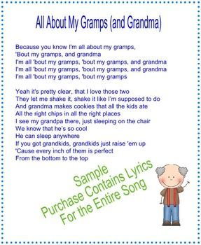 Grandparents Day Song Lyrics To The Tune Of All About That Bass Grandparents Day Songs Grandparents Day Happy Grandparents Day