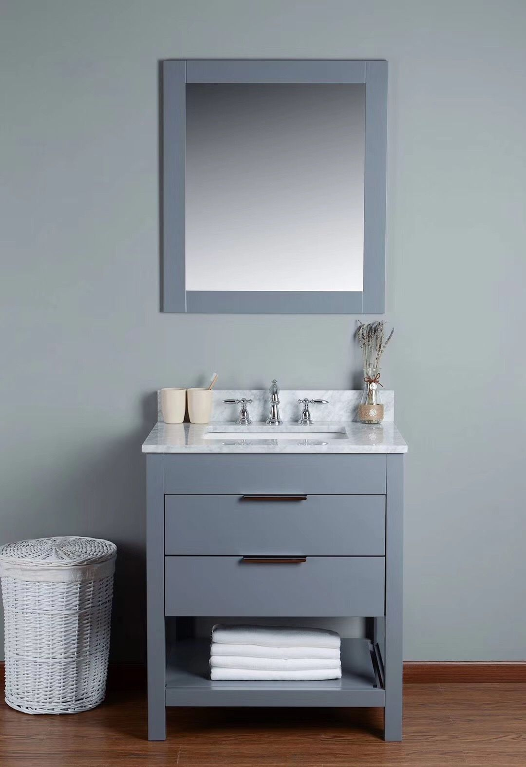 28inch Bathroom Vanity With Nature Marble Top And Frame Mirror Price 380usd Bathroom Vanity Led Mirror Bathroom Vanity