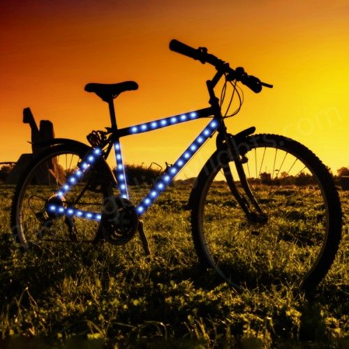 Blue LED Strip Lights for Bike Frame From FlashingBlinkyLights.com