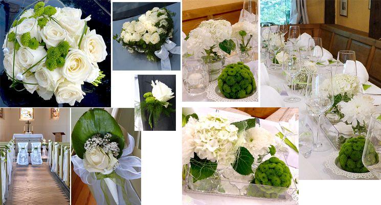 Hochzeitsdeko in grün weiss mit Blumenkugeln, Autoschmuck Herz ...