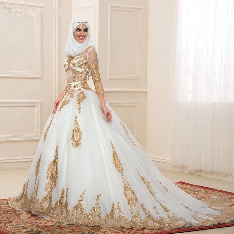 Engagement Rose Gold Wedding Dress Muslimah Addicfashion