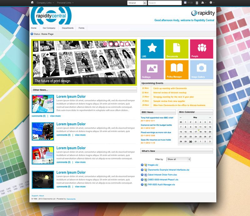 Best intranet designs and examples claromentis for Company intranet template