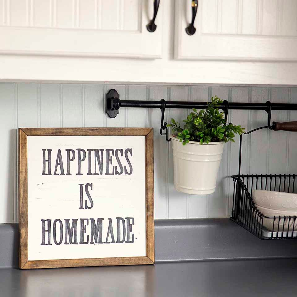 happiness is homemade handpainted sign handmade 12x12 wall sign cottage decor kitchen wall on kitchen decor wall ideas id=76178