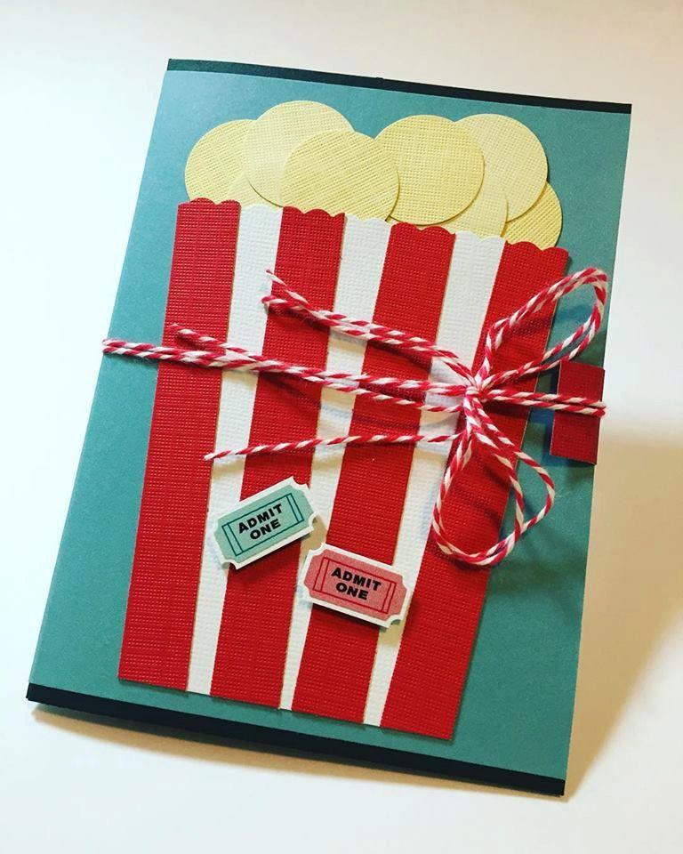 Handmade Popcorn Movie Theatre Ticket Gift Card Holder; Birthday Gift Card Holder; Gift Card