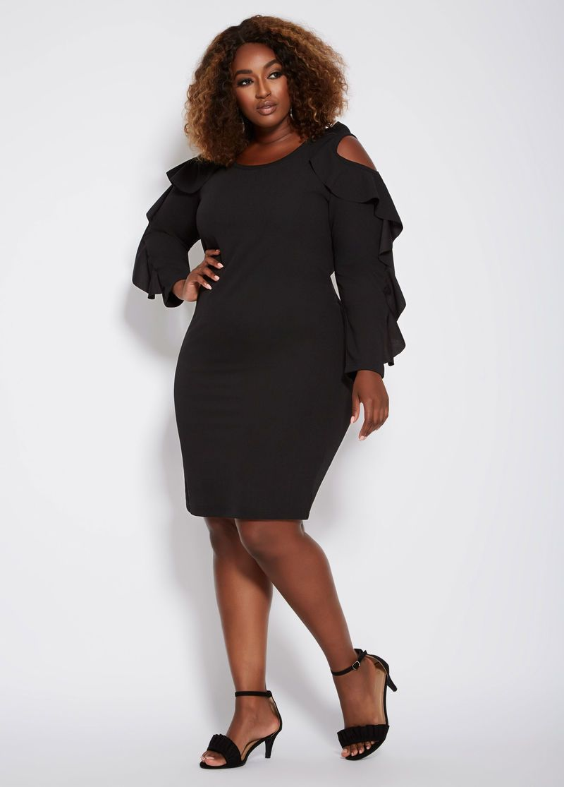 Cold shoulder ruffle dress in plus size curves clothing