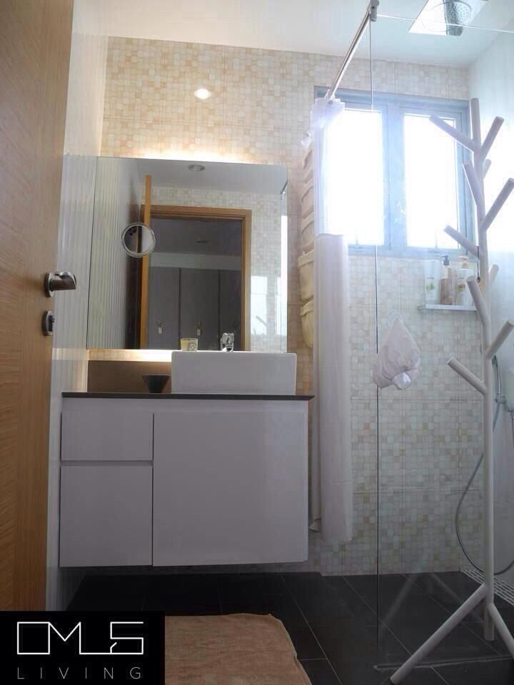 Master Bathroom Ideas   OMUS living  Note: White undertone, showerhead, showerarea, glass partition sink and mirror