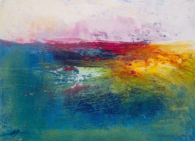 Original Landscape Acrylic Painting Abstract Landscape Warm Sunrise Texture Atmospheric Colorful Modern Art 5x7 Inches Painting Abstract Landscape Art