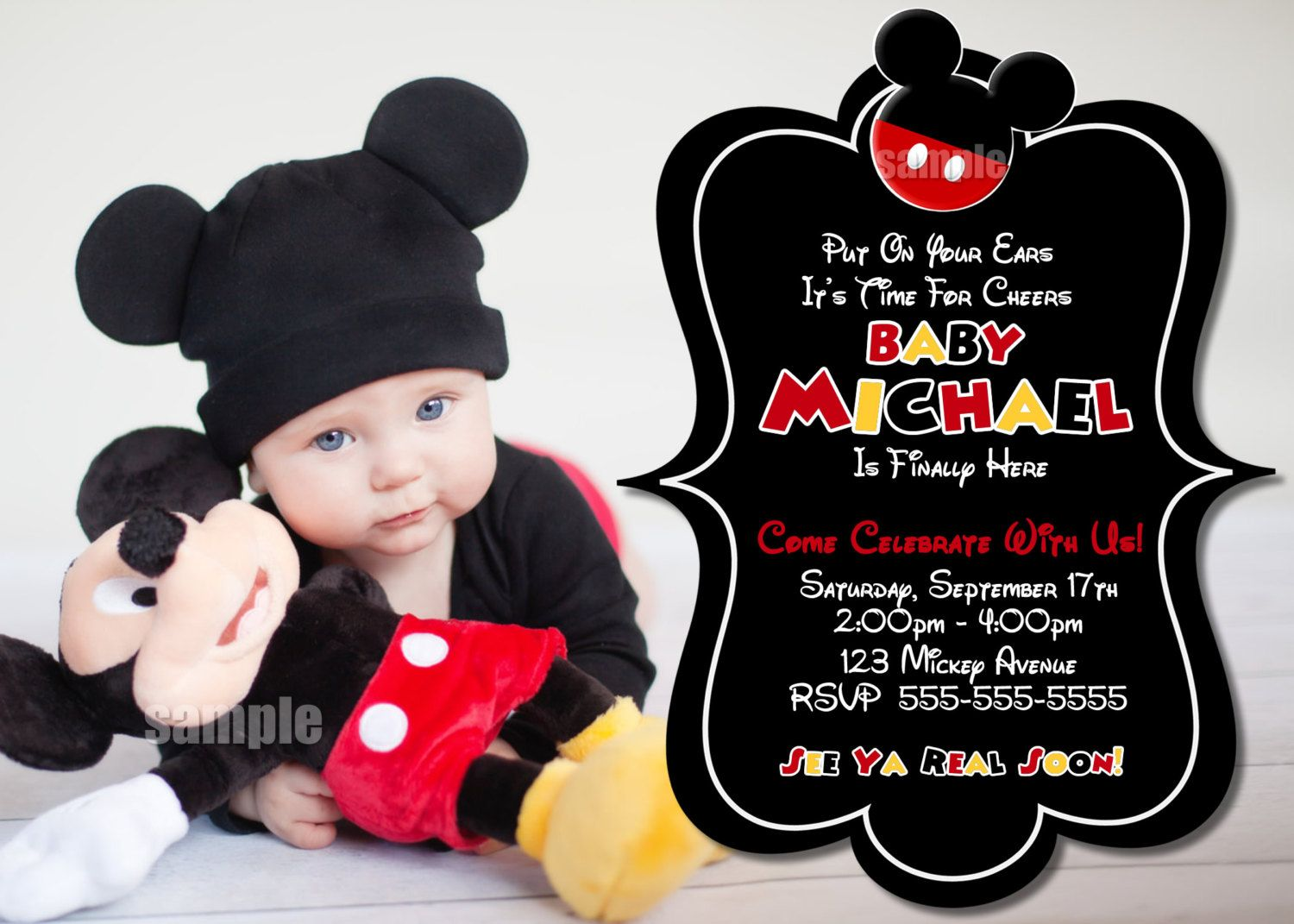 HUGE SELECTION Mickey Mouse Birthday Invitation Mickey Mouse