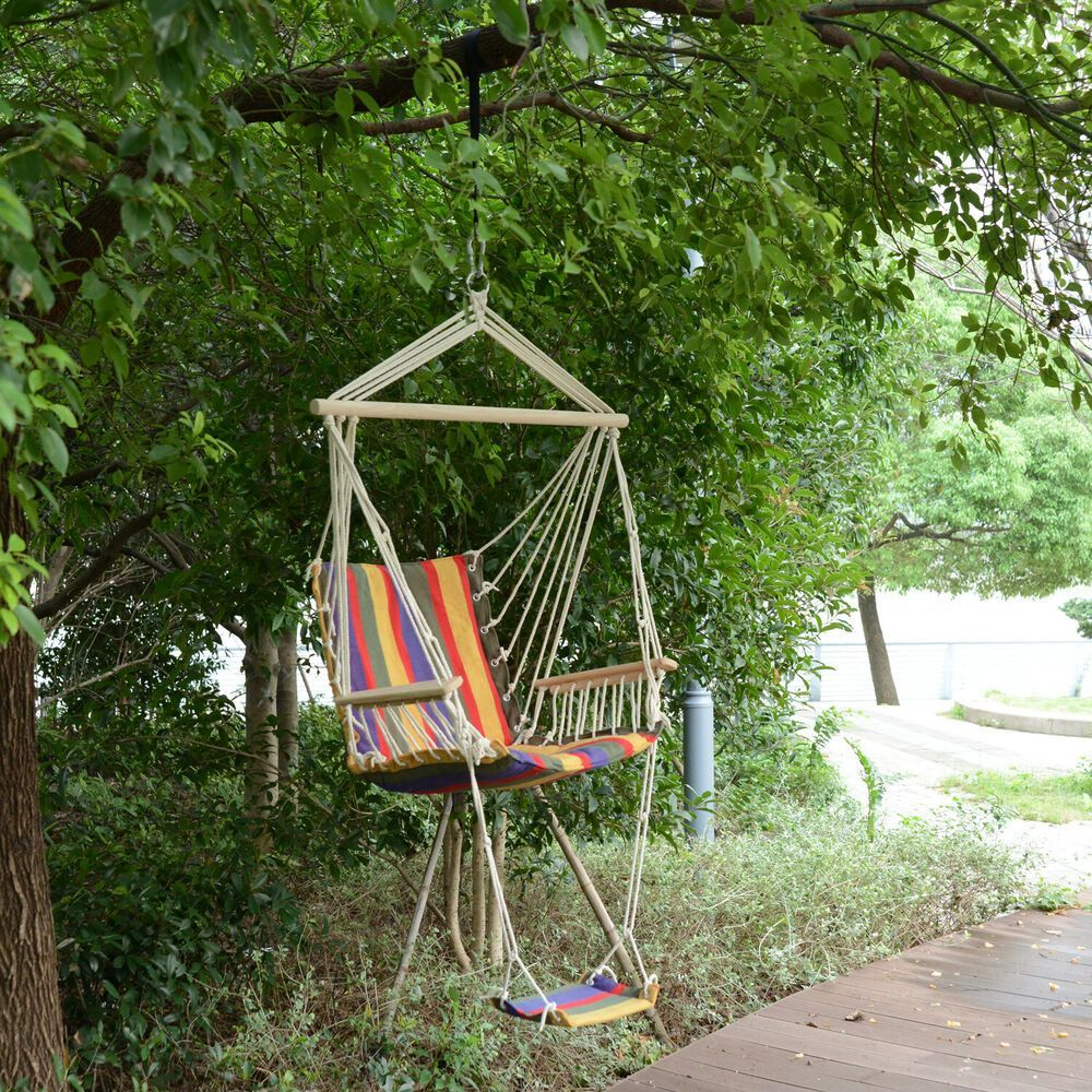 Chair Garden Hammock Hanging Outdoor Outsu Outsunny Rope Seat Swing Tree Wooden Outsunny Outdo Wooden Swing Chair Swing Chair Garden Swinging Chair