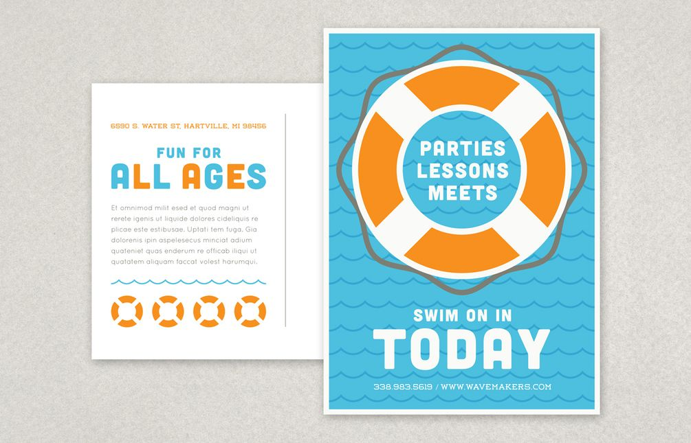 Swimming pool postcard template cool flyers pinterest for Pool design templates