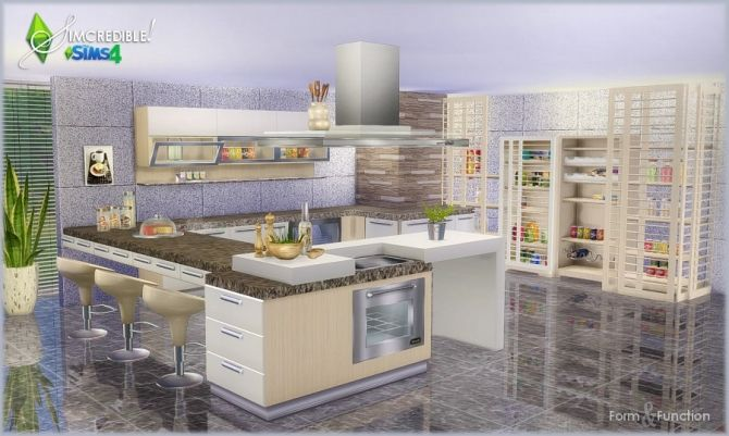 Form and function kitchen donation at simcredible for Kitchen ideas sims 4
