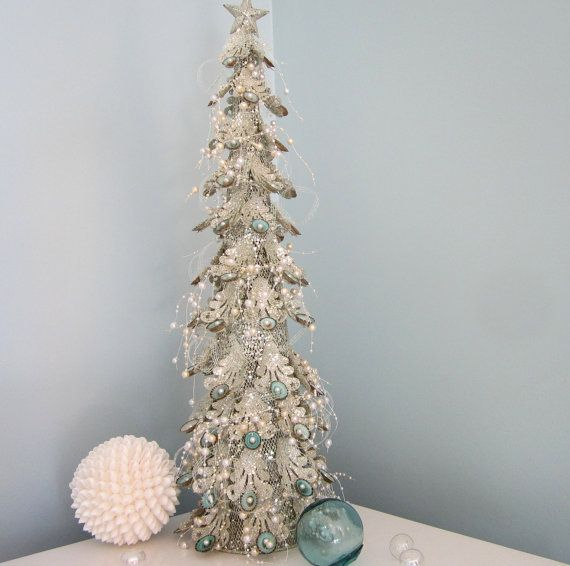 Beach Decor Christmas Tree W Limpet Shells Pearl Garland
