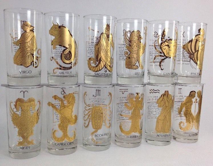 Vintage Anchor Hocking Gold Plates Zodiac Drinking Glasses Complete Set Of 12 Glassware Drinking Glasses Vintage Knick Knacks