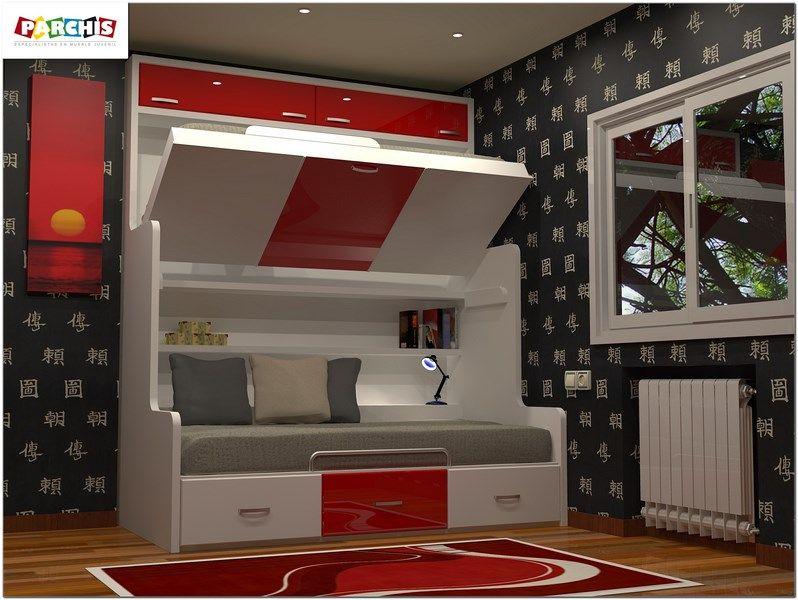 Literas fijas con camas altas abatibles y cama nido tipo for Dormitorios juveniles economicos