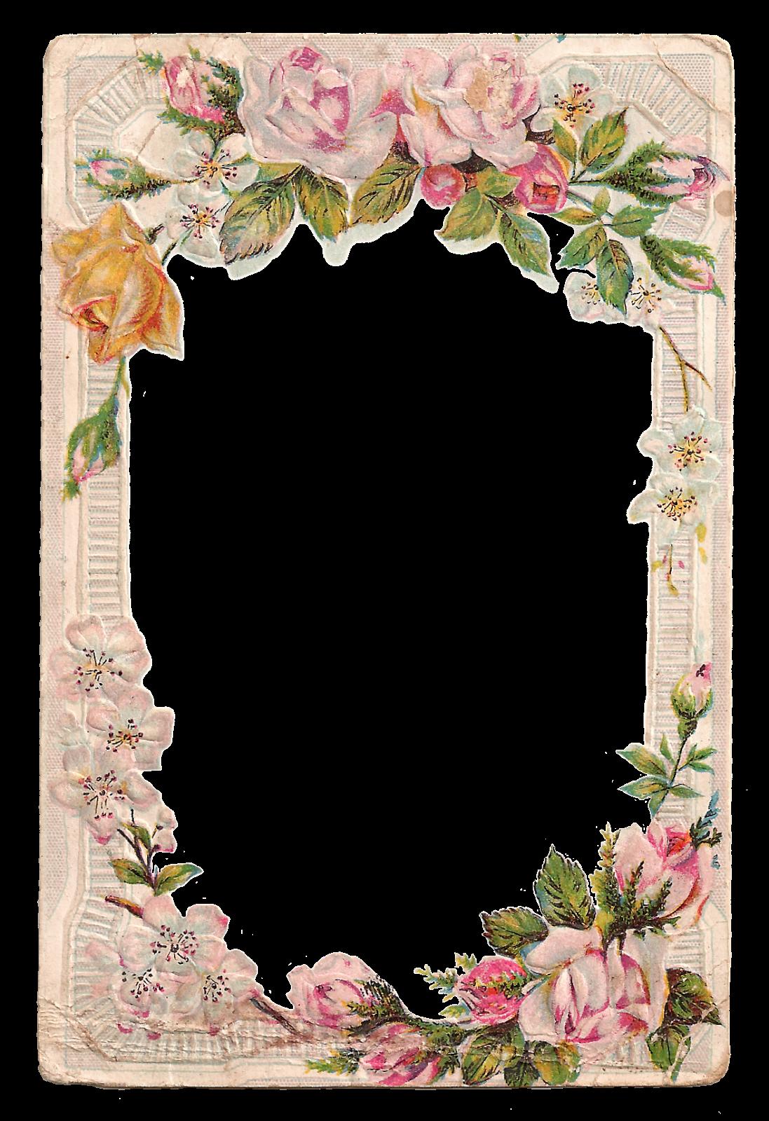 Antique Images Free Digital Printable Label And Pink Rose Flower Frame Flower Frame Printable Frames Rose Frame
