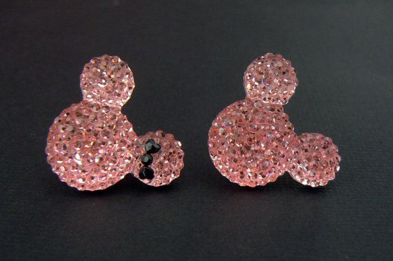 Pink Mickey and Minnie Mouse Earrings Plugs by ApplezJewelry