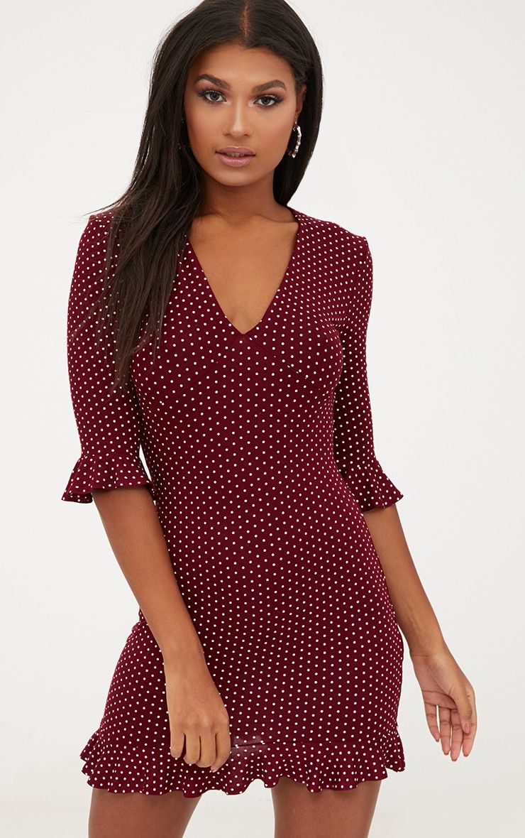 135ded2979da Burgundy Polka Dot Frill Hem Shift Dress | Moll's stuff | Polka dots ...