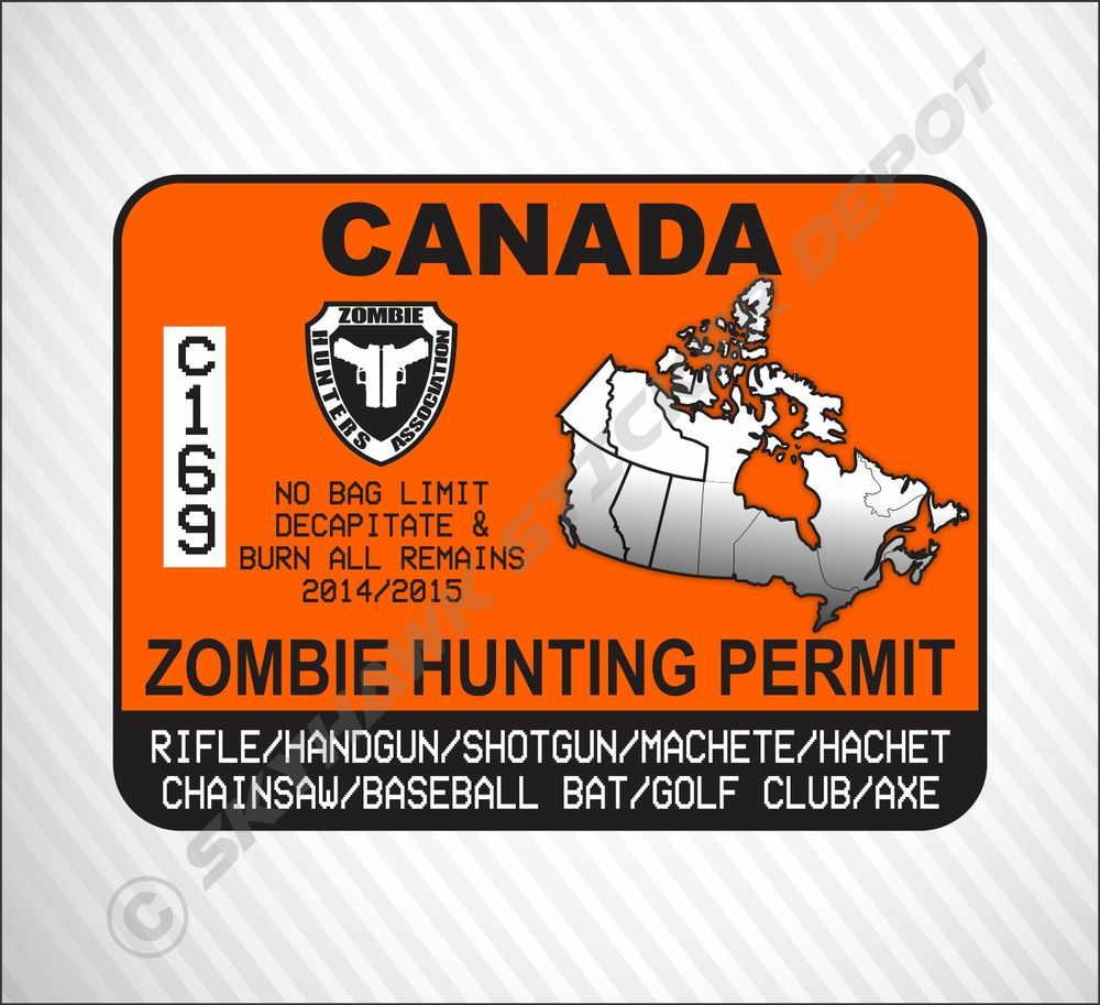 Zombie Hunting Permit Canada Vinyl Sticker Decal Ca Walking Dead - Vinyl decal stickers canada