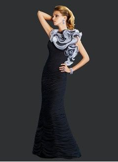 Sheath/Column Scoop Neck Floor-Length Chiffon Organza Evening Dress With Ruffle Flower(s)