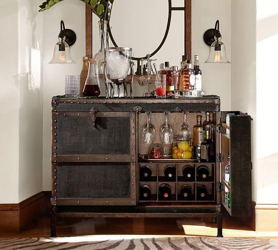Ludlow Trunk Bar Cabinet Pottery Barn Bar Home Bar