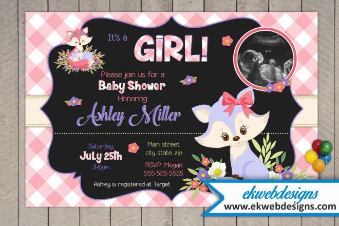 Woodland Fox Its A Girl Baby Shower Invitations Prinable Custom