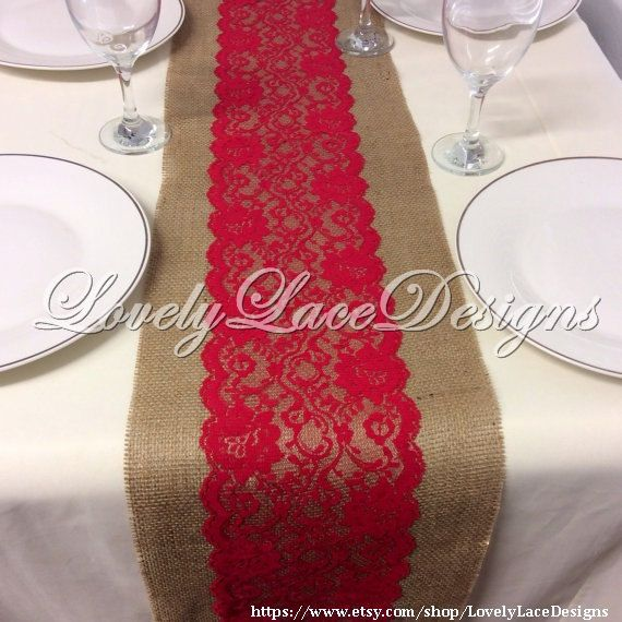 Burlap Lace Table Runner /Dark Red Lace