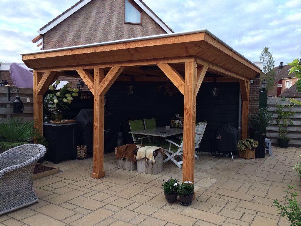 mooie douglas veranda met strak overstek douglas houten veranda