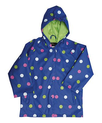 Image result for foxfire rain coat navy polka dots