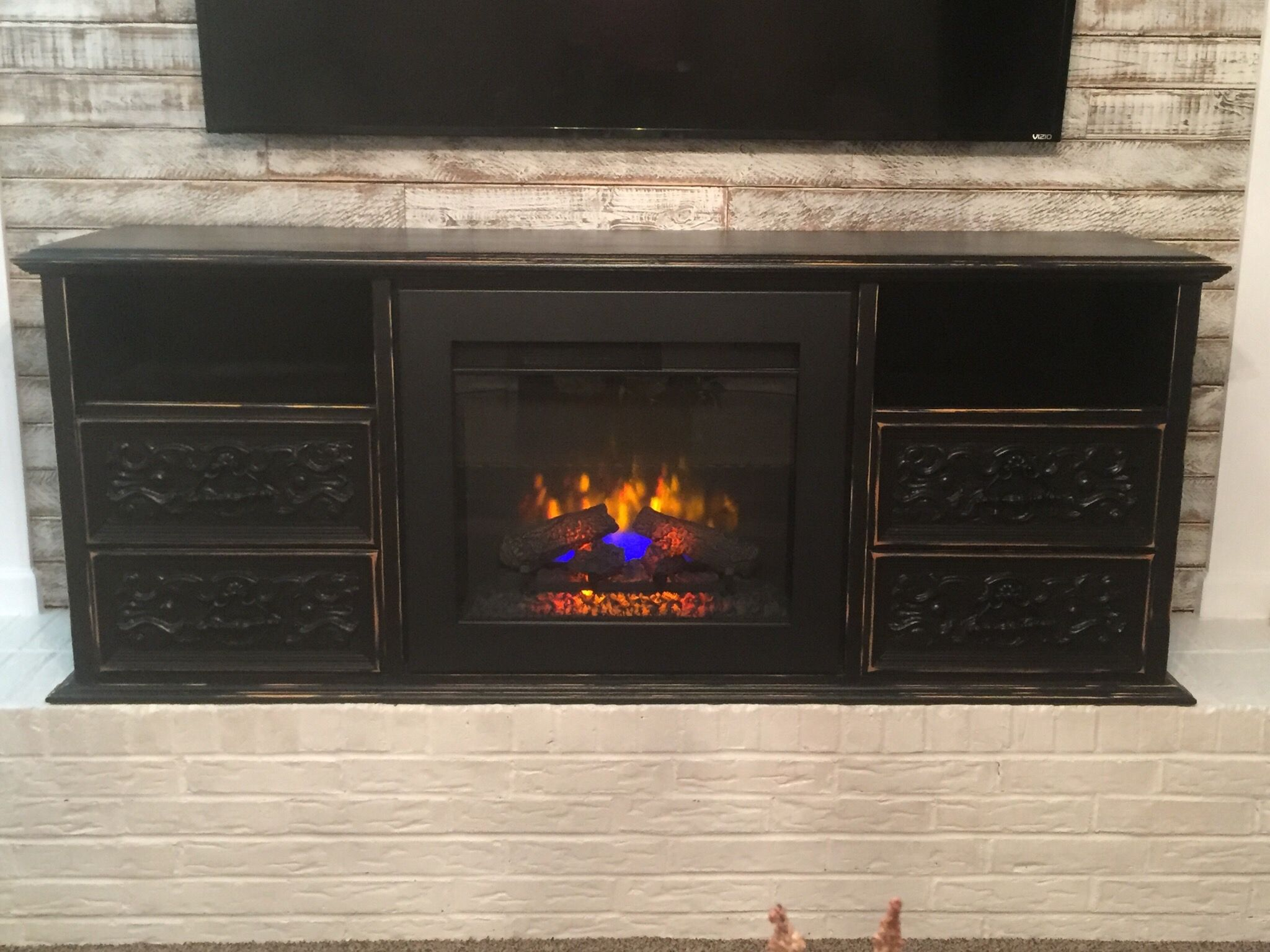 refurbished dresser to electric fireplace tv console pearls in the
