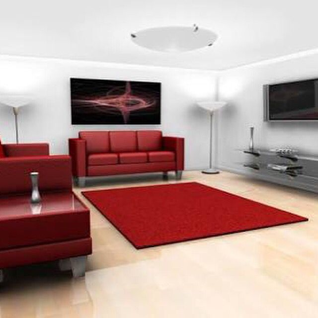 Family Room - loving the red, white and black combo here! www