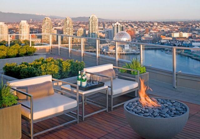 dachterrasse skyline-ausblick terrassenboden-holz dielen-kamin, Best garten ideen