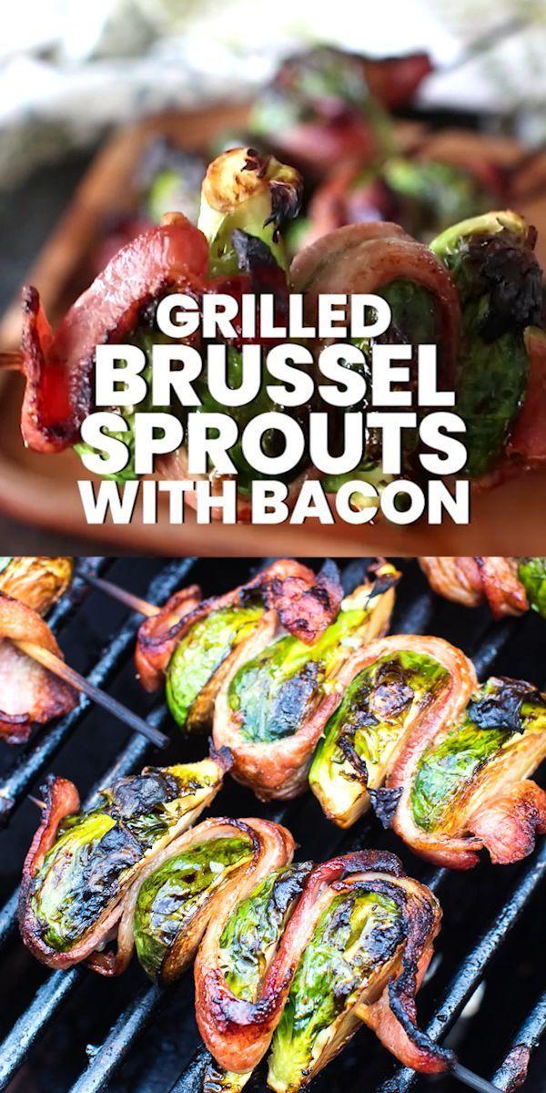 Köstlicher gegrillter Speck eingewickelter Rosenkohl auf einem Spieß! #brusselsproutrecipes