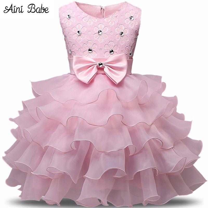5b15b270f529 Aini Babe Girl Dress Summer 0-8 Years Floral Baby Girls Dress ...