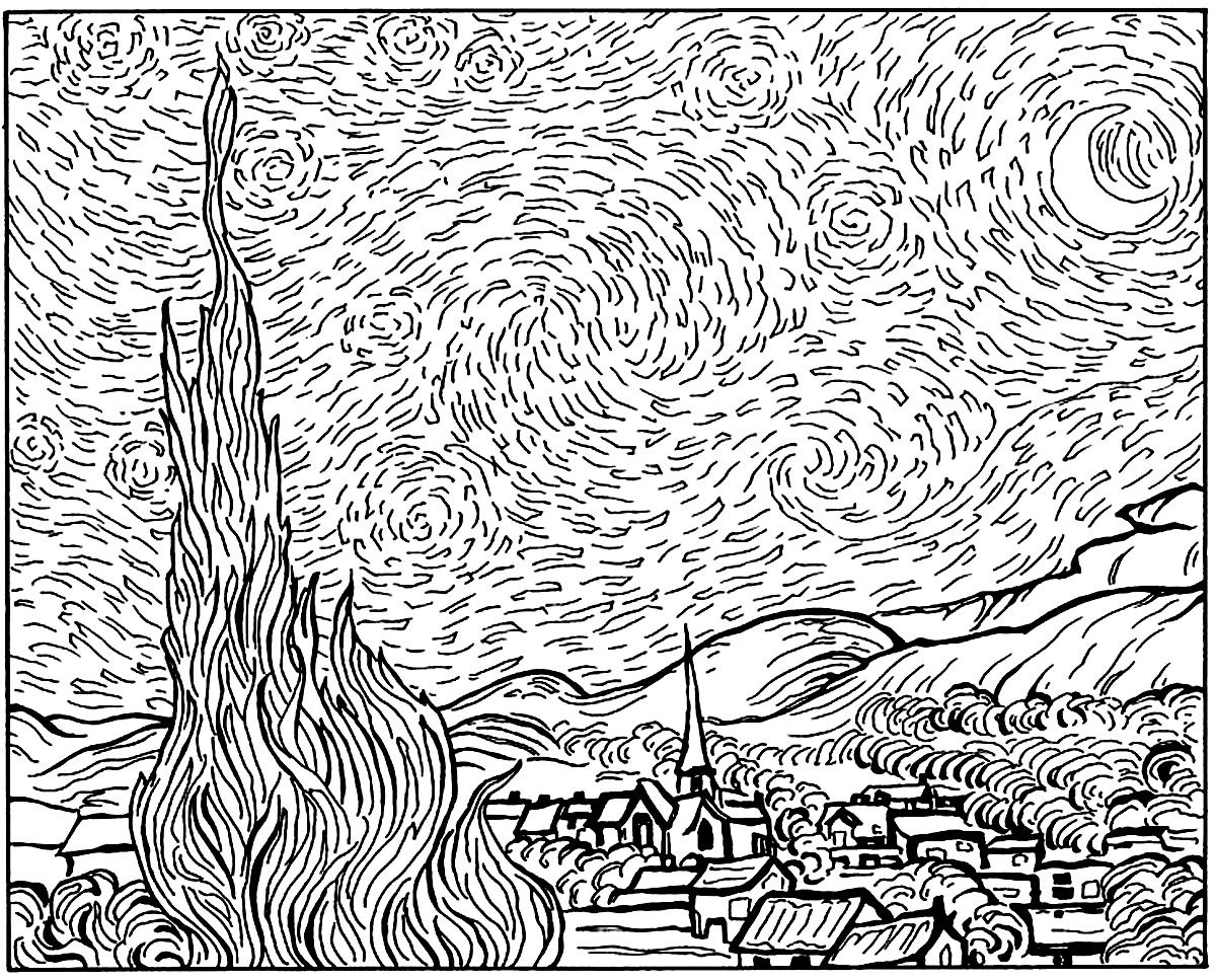 Van Gogh Starry Night Masterpieces Coloring Pages For Adults