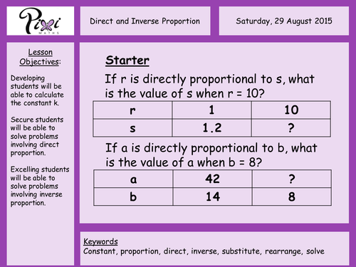 GCSE Maths direct inverse proportion FREE revision