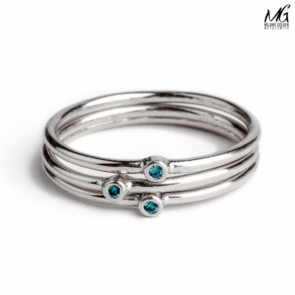 Diamond Stackers - Blue Diamond stacking skinny rings in Sterling ...
