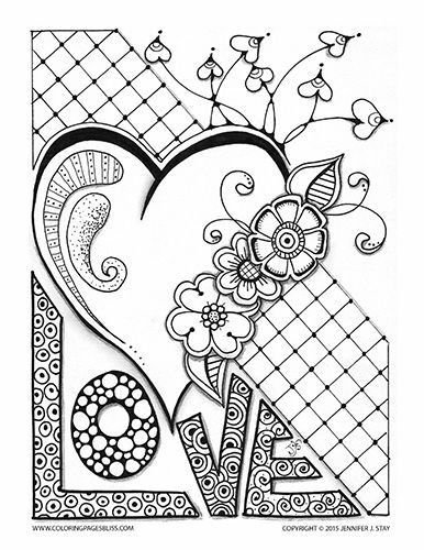 Love Valentine With Heart And Flowers Valentine Coloring Pages Detailed Coloring Pages Love Coloring Pages