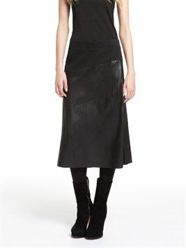 pureDKNY Pull On Seamed Leather Skirt With Ponte Inserts