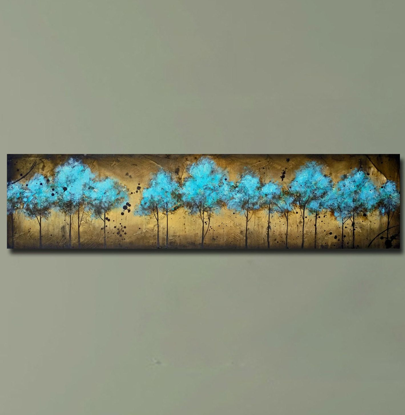 Sofa Art Long Horizontal Blue Tree Painting Textured Painting Into The Forest 12x48 By Britt Hallowell Horizontal Painting Tree Painting Blue Tree