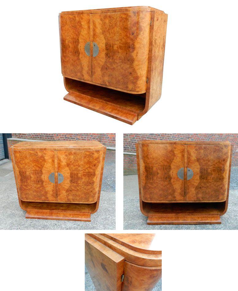 Buffet art deco en loupe d 39 orme meubles de rangement mobilier de salon rangement et buffet - Art deco meuble ...