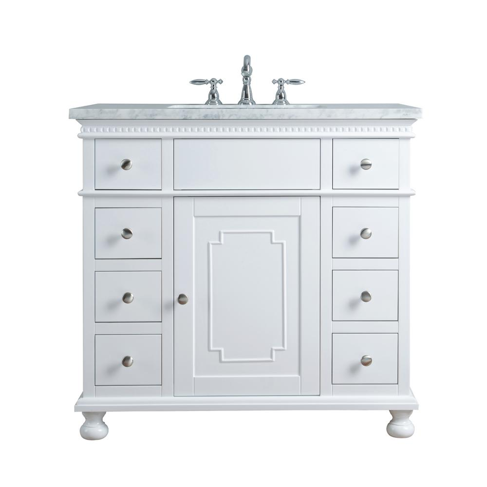Stufurhome 36 In Abigail Embellished Single Sink Vanity In White