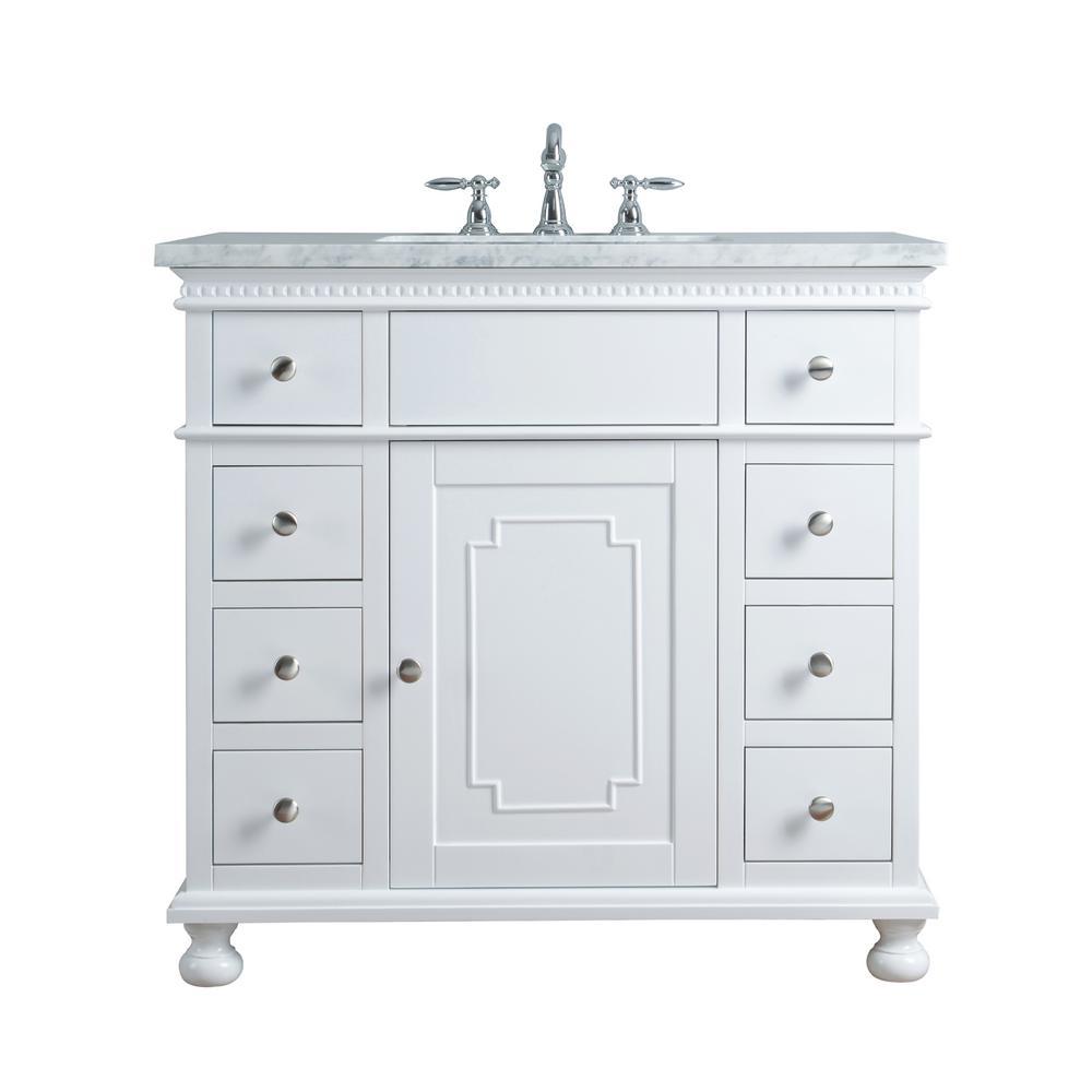 Stufurhome 36 In Abigail Embellished Single Sink Vanity In White With Marble Vanity Top In Carrara With White Basin Single Sink Bathroom Vanity Single Sink Vanity Single Sink