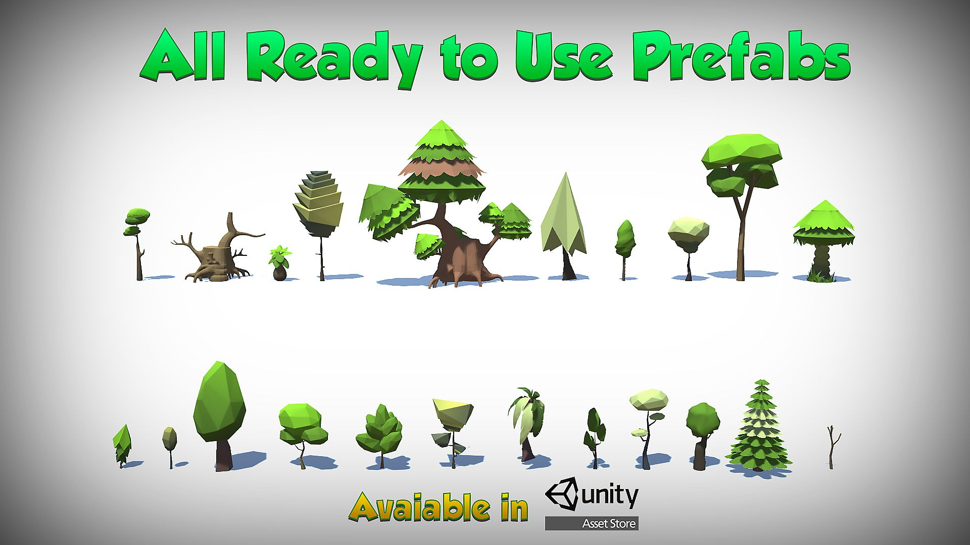 This package contains 22 varieties of cartoonish style trees  The
