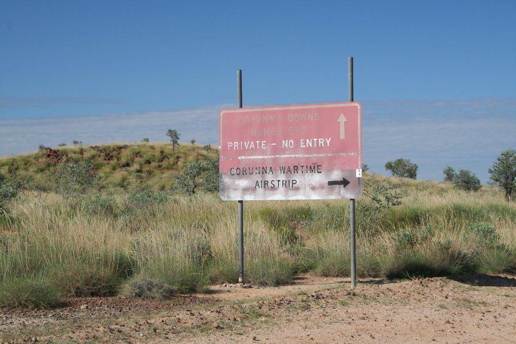 Signpost To The Corunna Wwii Airbase Raaf Obu73 Corunna Western Australia Highway Signs