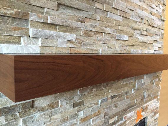 Walnut Modern Beam Mantel Black Walnut Mantel Wood Fireplace