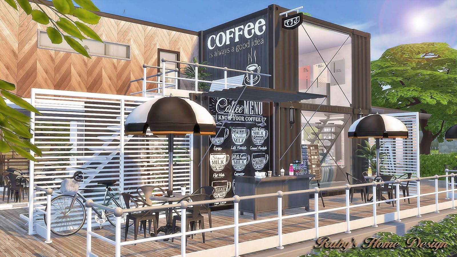 Sims4 Container Coffee Shop Rubys Home Design Sims 4